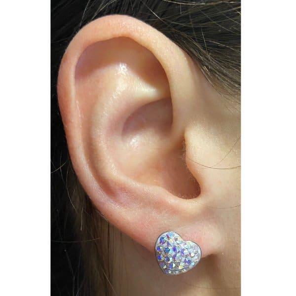 10mm Sm St heart stud earrings AB model