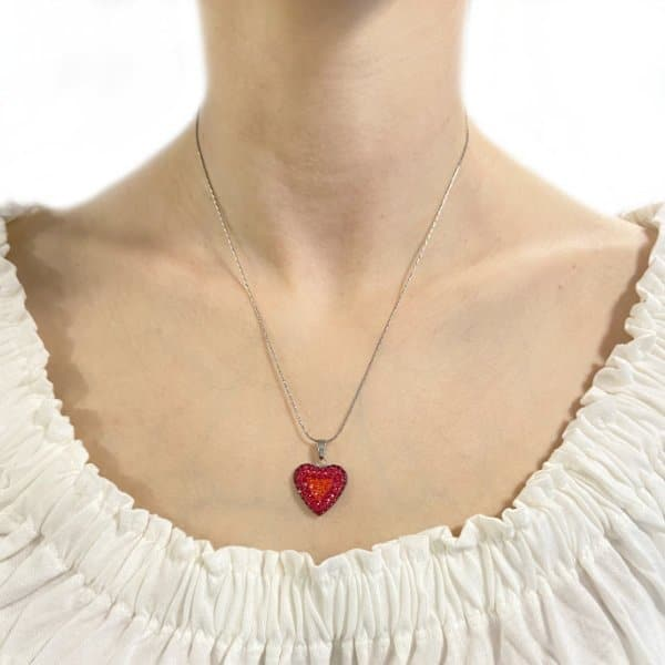 18mm sm st heart pendant red mix model